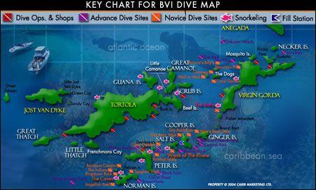 Dive Map Of The BVI The British Virgin Islands Tortola Virgin
