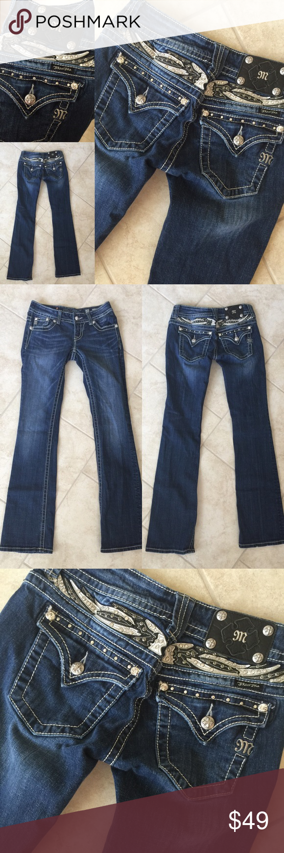 MISS ME 🎀 Rhinestone BLING Jeans, Boot, 26 X 34 Great condition! 💗💗💗 AX201816G Miss Me Jeans Boot Cut