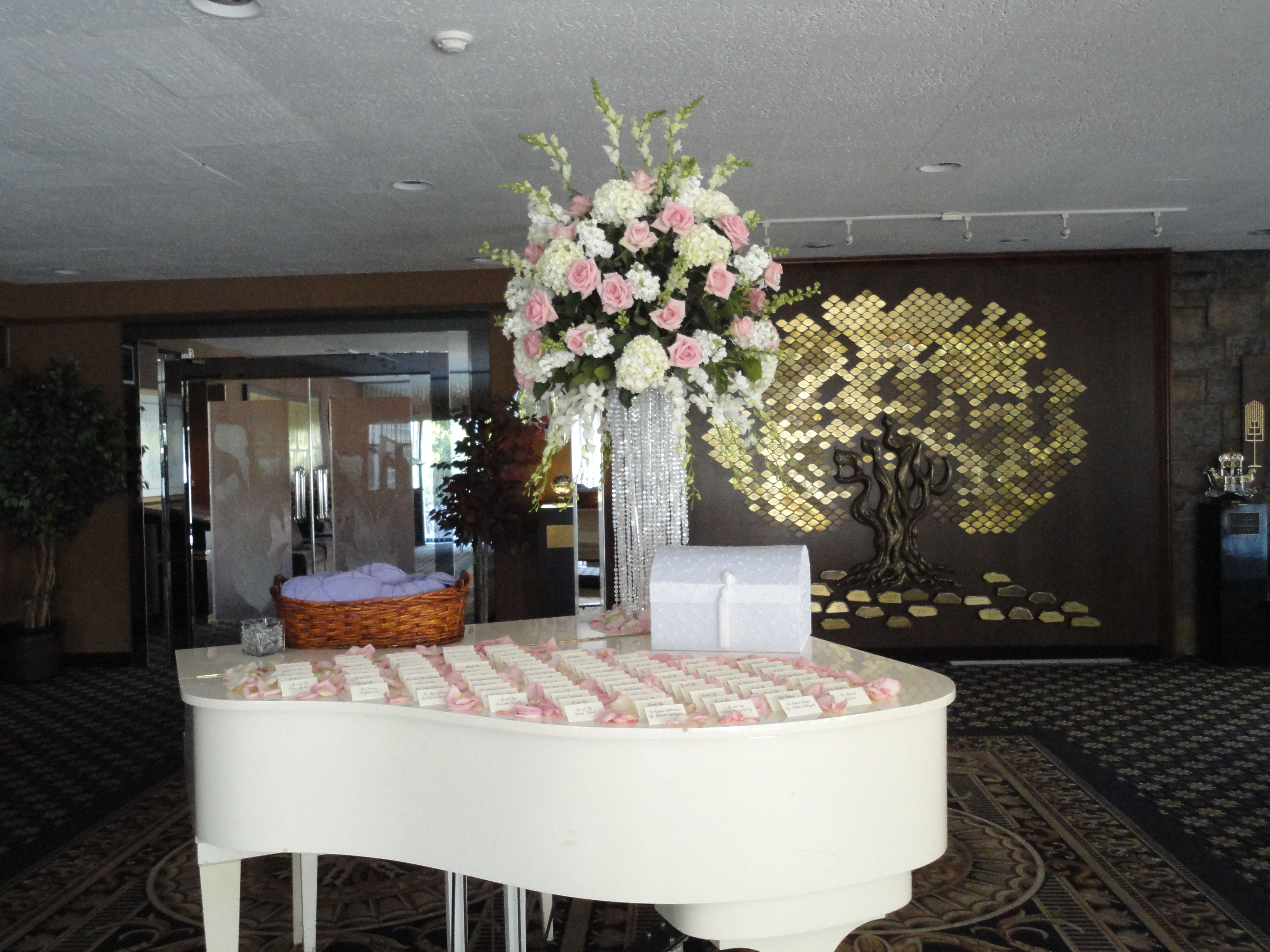 white and light pink raised centerpiece