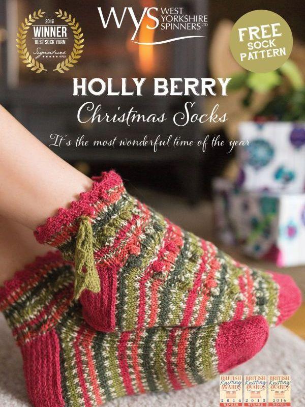 Hollyberry Christmas Socks - West Yorkshire Spinners Holl... | Socks ...