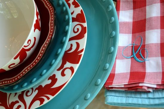 Tablescapes Red Turquoise On The Table Red Decor Teal