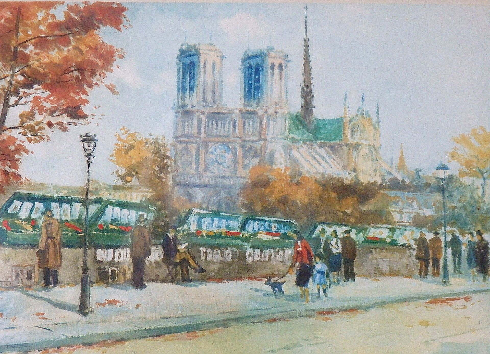 Notre Dame Cathedral Paris Color Etching Charles Blondin