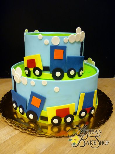 Train Fondant Wrap Shower Cake
