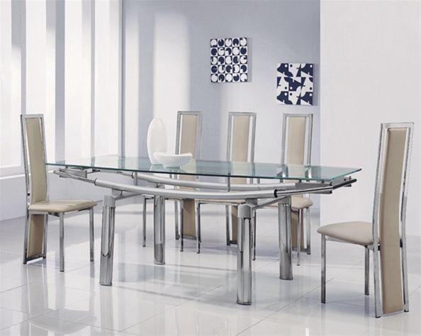 Glass Dining Table And Chairs Extending Glass Dining Table And 6