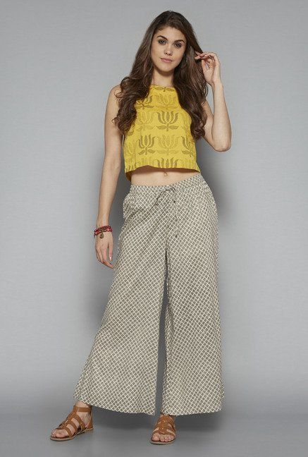 42114344148ab Bombay Paisley by Westside Yellow Floral Print Crop Top