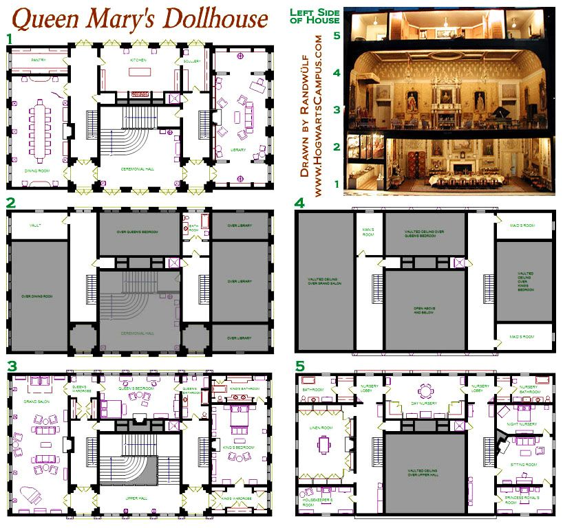 Queen Mary S Dollhouse Floor Plan Doll House Doll House Plans Floor Plans