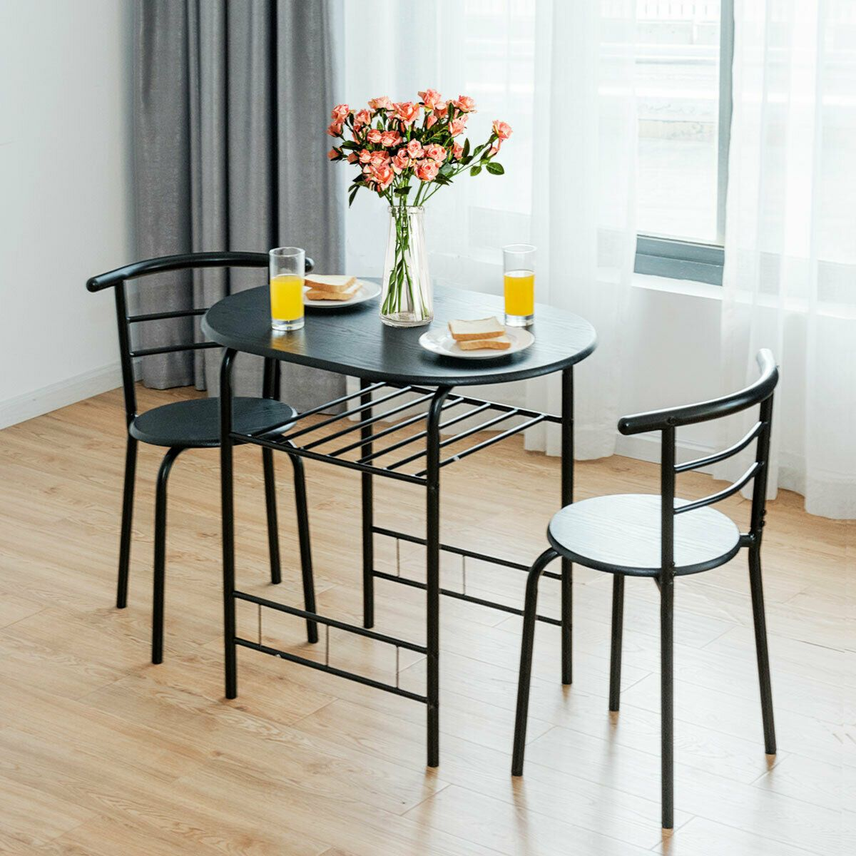 3 Pcs Home Kitchen Bistro Pub Dining Table 2 Chairs Set In 2020 Dining Room Sets 3 Piece Dining Set Bistro Table Set