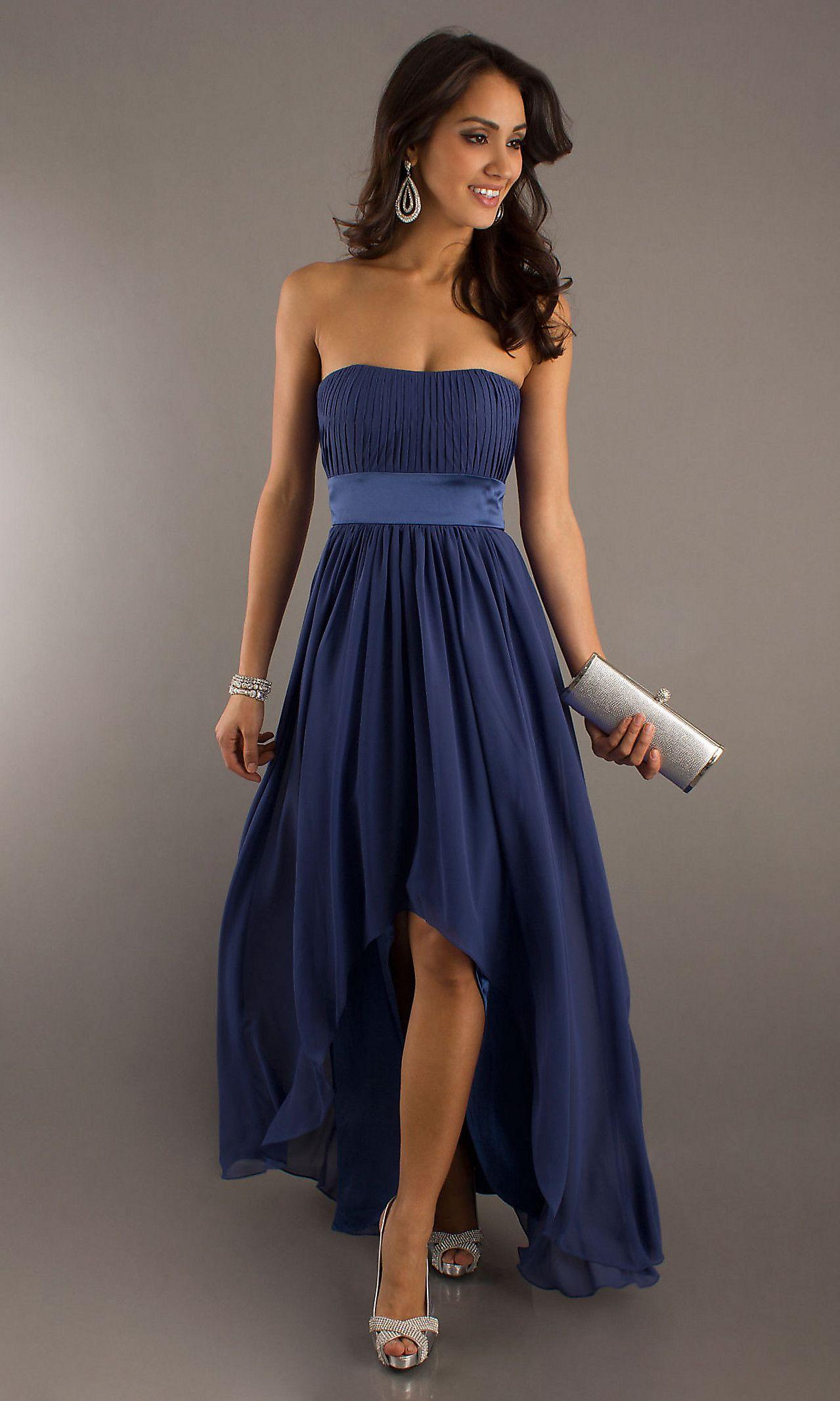 Strapless hi low prom dresses bridesmaid dress simply dresses