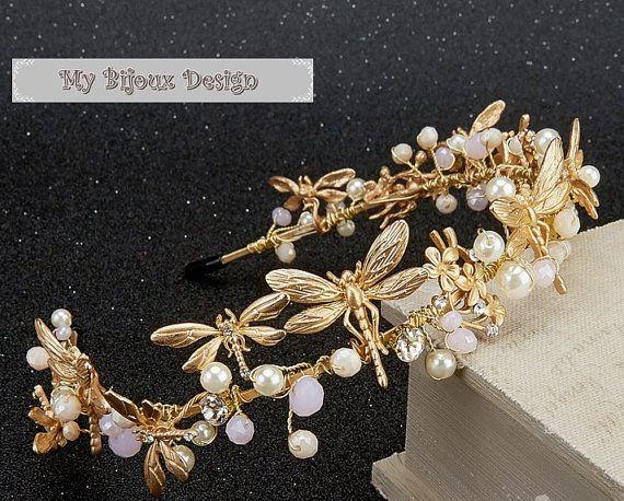 Wedding headband Bridal Tiara Bohemian Boho Hair  bend Wreath Hair Piece Sweet 16 Tiara Gold Headpiece Tiara Dragonfly Headband Tiara