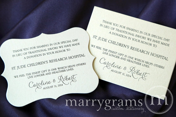 Wedding Donation Favor Cards In Lieu Of Favors Reception Place