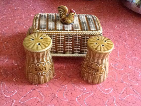 Vintage ceramic chicken on a basket  butter by RelicsVintageUK