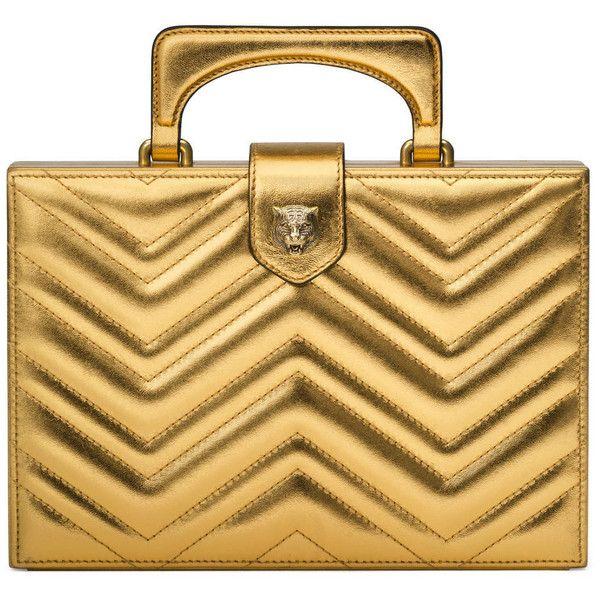 1da360b055 Gucci Broadway Matelassé Chevron Clutch found on Polyvore featuring bags,  handbags, clutches, gold, gucci handbags, metallic purse, beige leather  handbag, ...