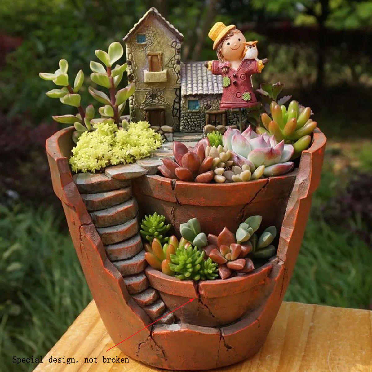 Succulent Plant Resin Planter Herb Flower Cactus Pot Sky Garden Box Desktop ~