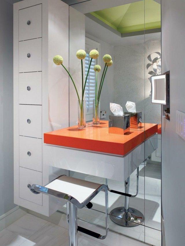 meuble coiffeuse salle bains grand miroir meuble tiroirs chaise meuble coiffeuse