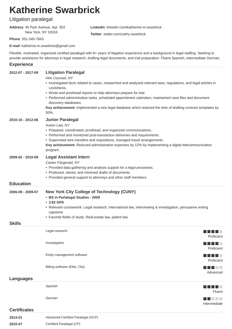 paralegal resume template nanica in 2020 Paralegal, Job