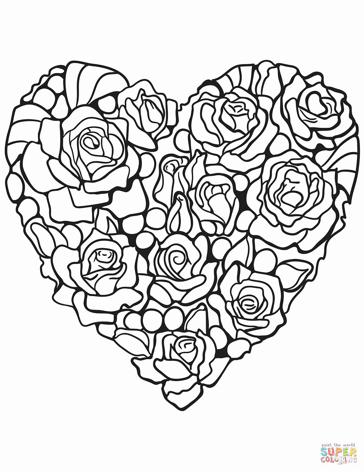 Rose Coloring Books Awesome Heart Made Of Rose Coloring Page Rose Coloring Pages Heart Coloring Pages Detailed Coloring Pages
