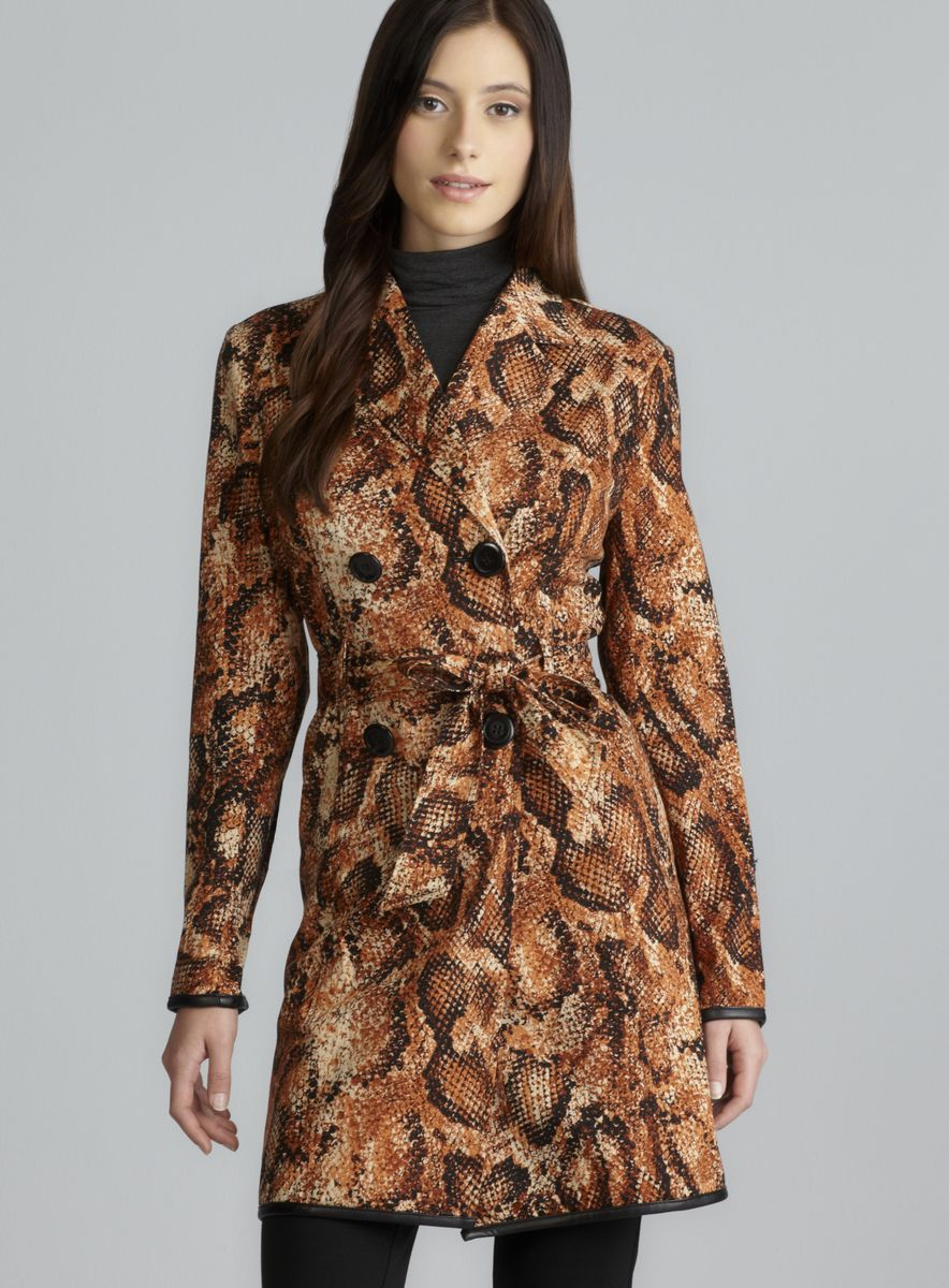 Double Breasted Snakeskin Print Belted Jacket