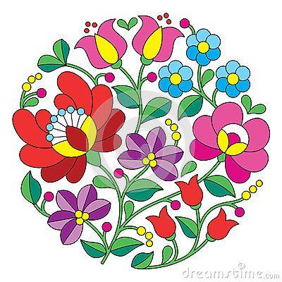 Kalocsai embroidery - Hungarian round floral folk pattern ...