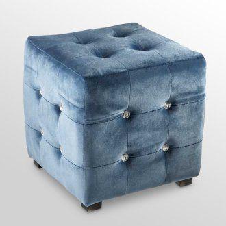 15 in. Ocean Blue Velvet Ottoman - Set of 2