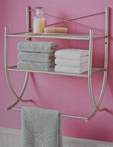 bathroom shelf with towel bar