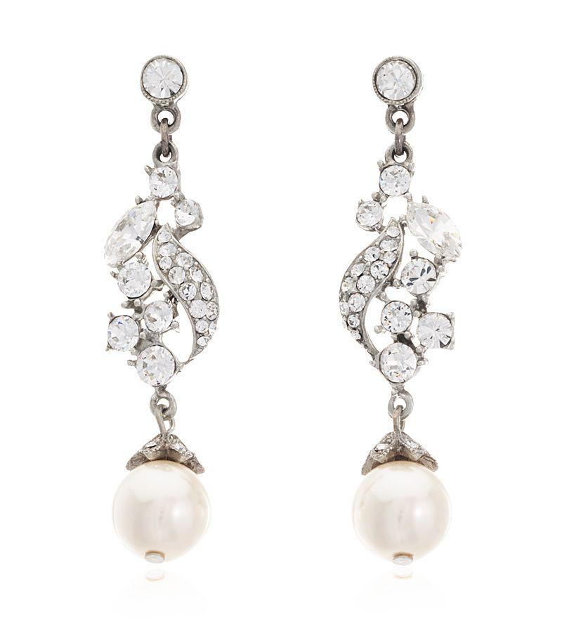 Crystal Pearl Drop Earrings Ben Amun Thomas Laine