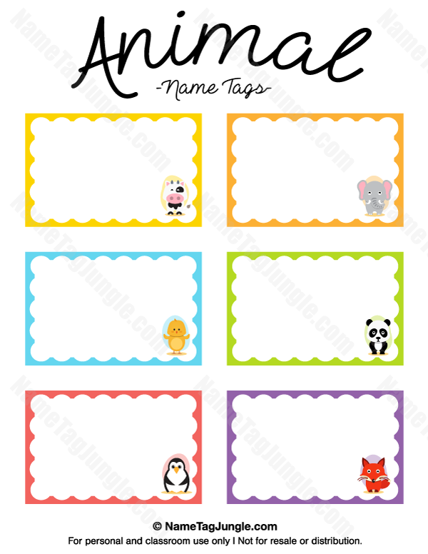 preschool name tag templates - animal name tags preschool ideas pinterest name tags