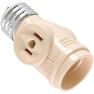 Ge 2 Outlet Socket Adapter Beige Or Cream 54178 At The Home Depot Mobile Outlet Adapter Bulb Battery Operated Lights