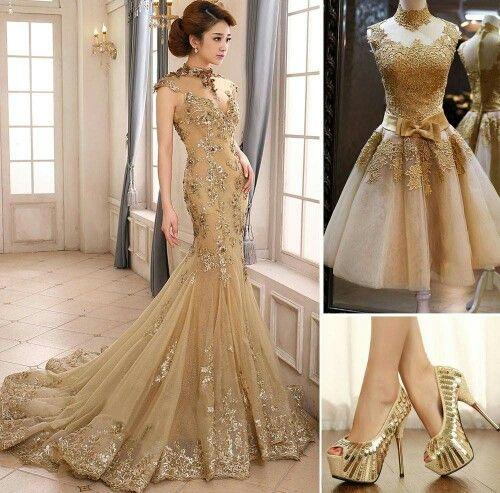 Vestido De Encaje Dorado Vestidos De Noche Largos