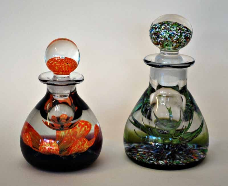 Two Caithness glass perfume bottles c. 1970's, manufactured in Scotland - Peter Holmes