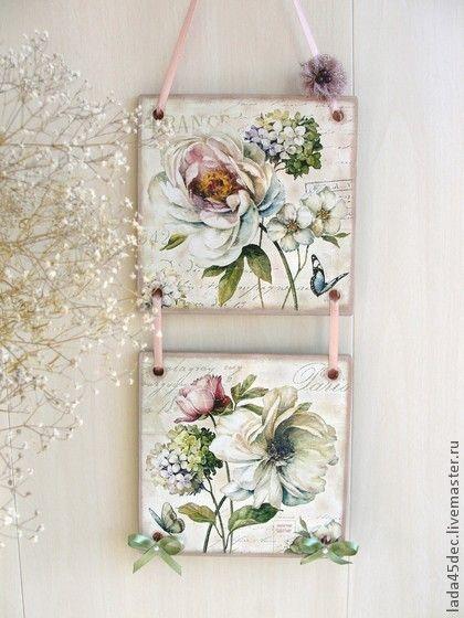 """Панно-диптих """"Французские цветы"""" - белый,панно,цветы,Французский шарм"""
