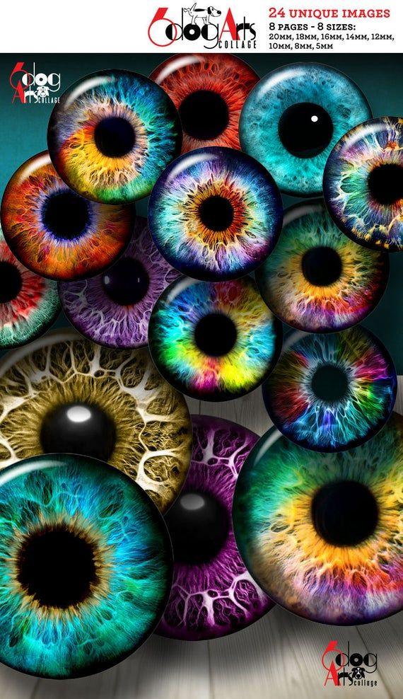 Rainbow Doll Eyes Digital Collage Sheets Printable