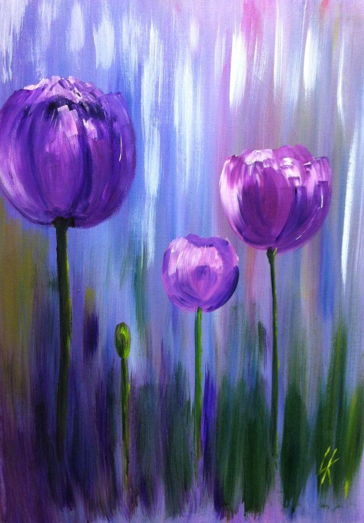 Tulips Acrylic Painting On Canvas Cizim Tuval Sanati Tuval