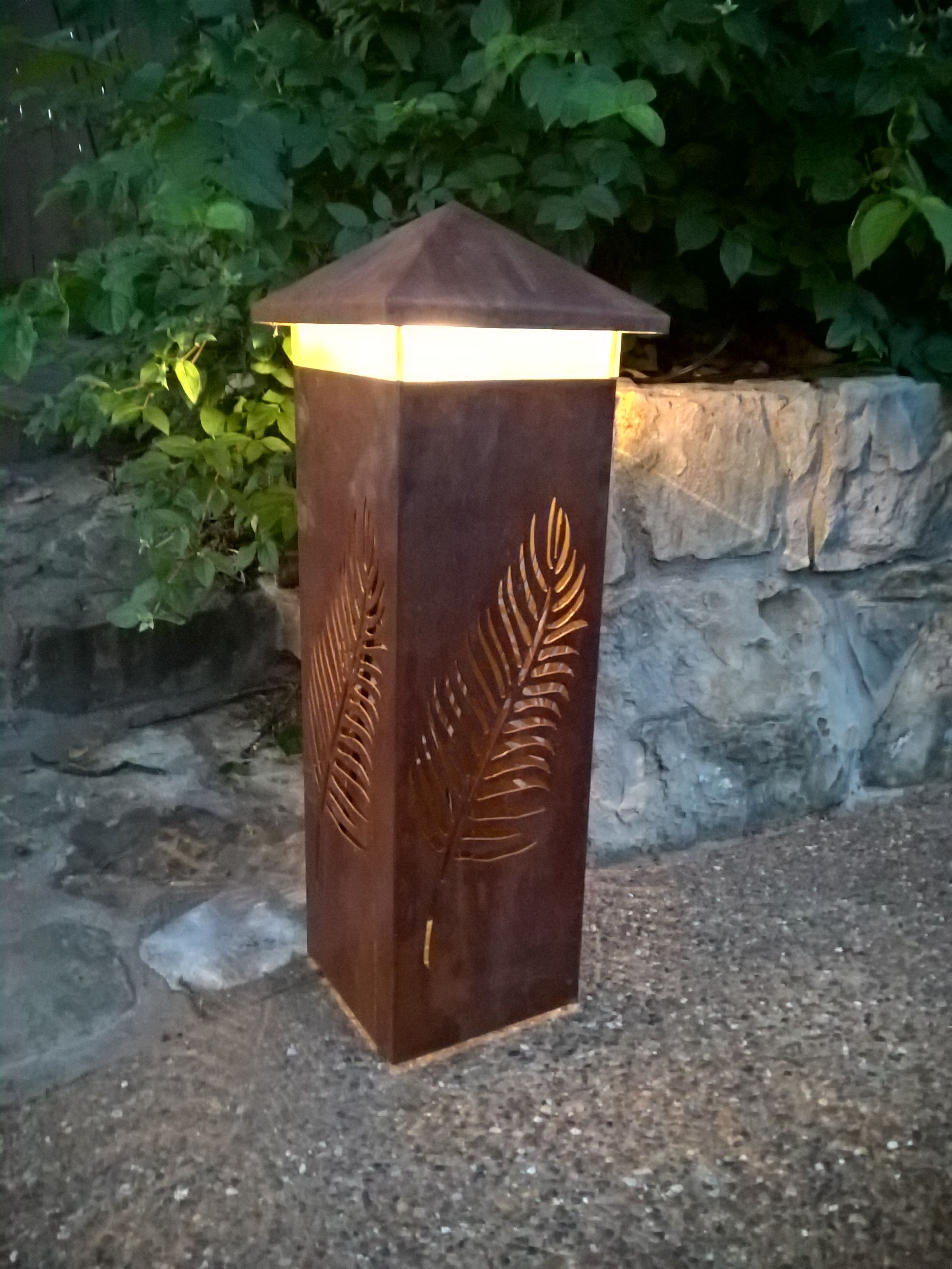 This Steel Light Bollard Is 29 Tall And Has A Rust Patina It Uses A 12 Volt Led Light That Is Compatible Steel Lighting Landscape Lighting Outdoor Lighting