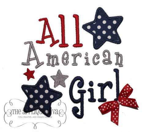 4th Of July All American Girl Digital Embroidery Design Machine