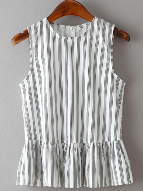 a76f69ebd98dc9 Vertical Striped Peplum Top Black + white striped blouse Peplum ruffle  accents Sleeveless Fabric has no stretch. Available in three sizes Please  allow 2-4 ...