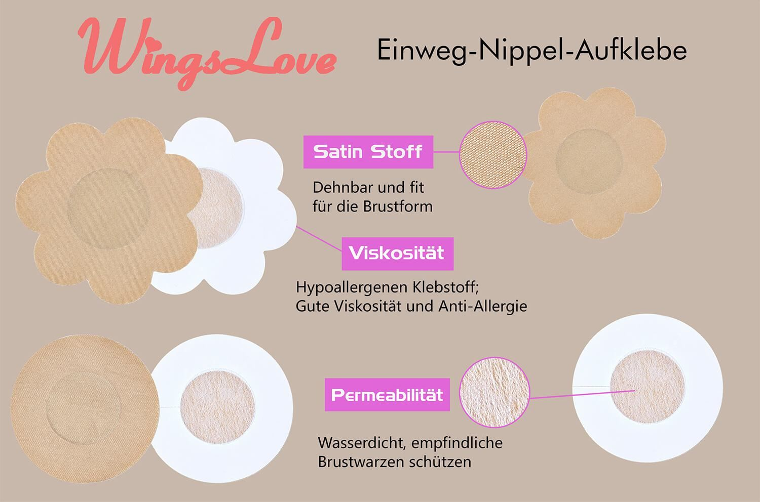 Wingslove 10 Pairs Invisible Nipple Covers Adhesive Bra Disposable Breast Petal Pads Patches