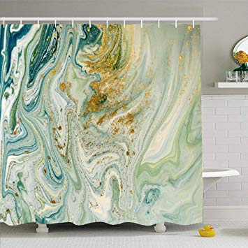 Ahawoso Shower Curtain 72x78 Inches Wall Watercolor Gold Marbled
