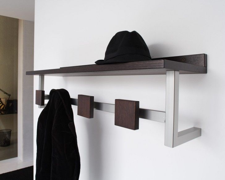 Furniture, Attractive Other Design Cheap Walnut Wood Wall Mounted Clothes Rack Plans With Stainless Steel Frame Also Square Walnut Wood Hanger: 3 Kinds of Clothes Wall Rack and Their Example