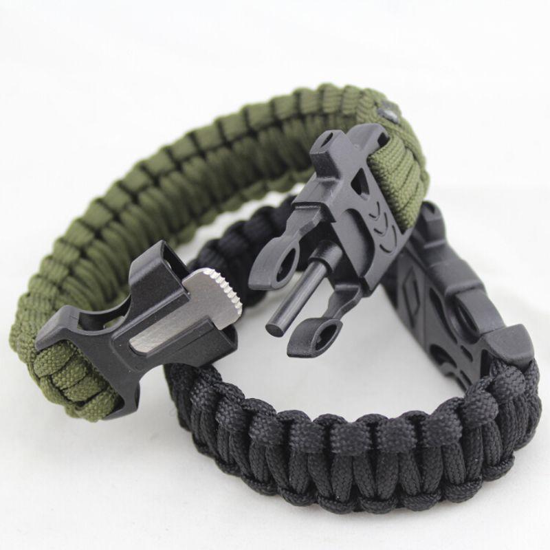Paracorde Bracelet De Survie Compas Flint Whistle Buckle Avec Firestarter Noir
