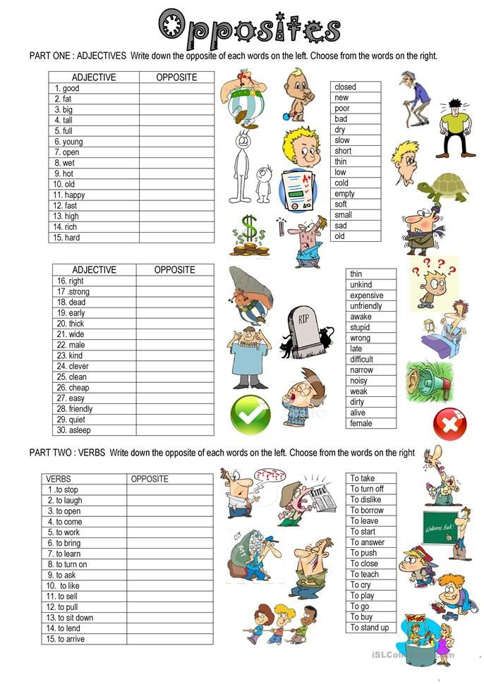 OPPOSITES | vaidehi | Pinterest | English, Worksheets and ...
