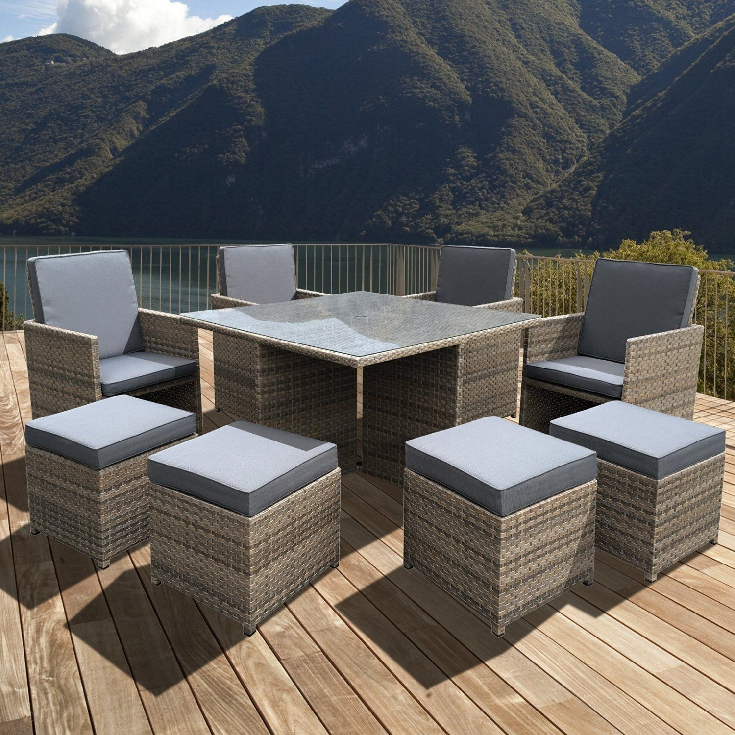 Oseasons OSRZCUBSET CHWW 8 Seater Cube Rattan Dining Set Chic