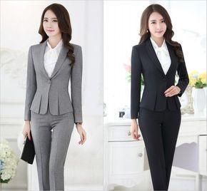 Trajes pantalón formales para mujeres trajes de negocios para conjuntos de  ropa de trabajo chaqueta gris 5bc7cfc0e639