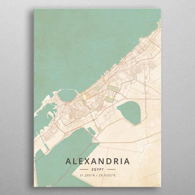 Alexandria Egypt by DesignerMap Art metal posters