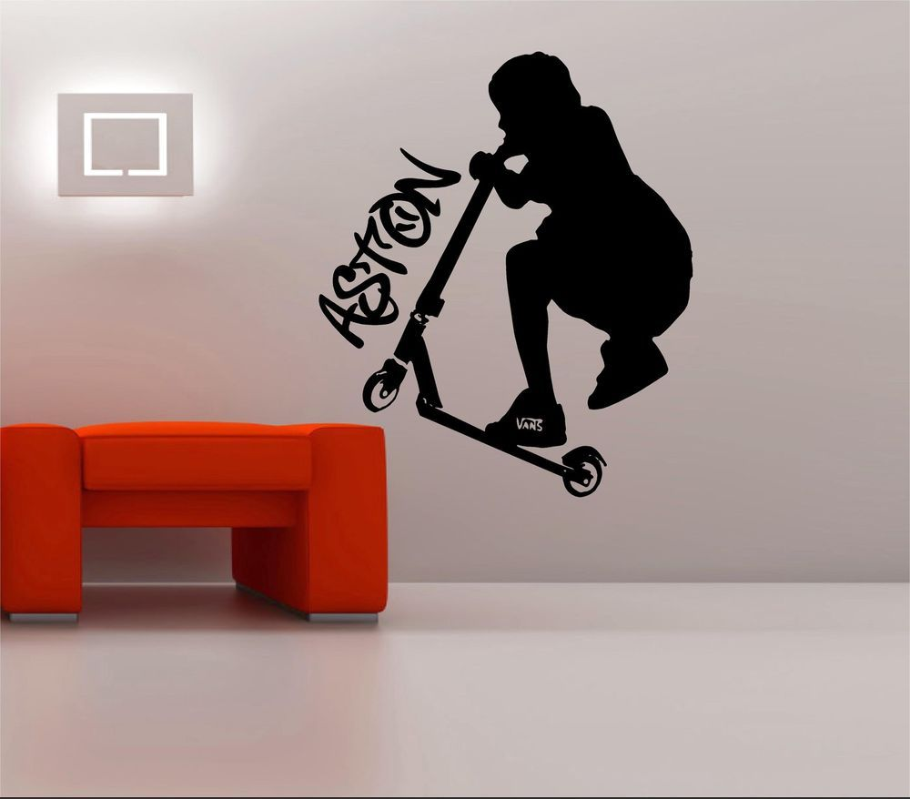 Large personalized stunt scooter teenage bedroom wall art sticker