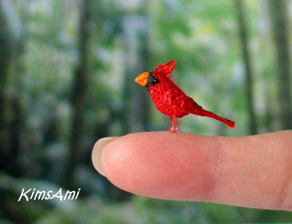 Mini Red Cardinal bird Miniature amigurumi tiny red by KimsAmi