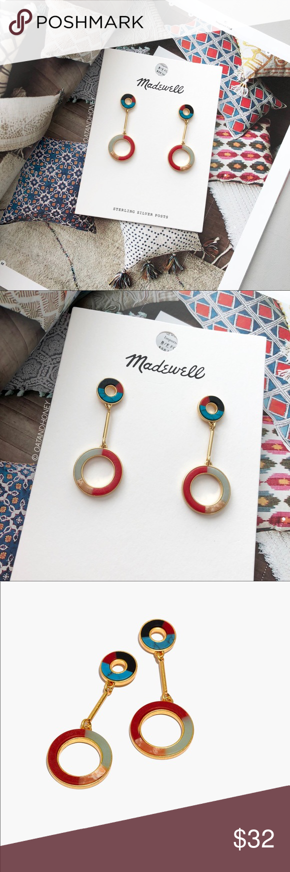 41a2a5611 Madewell Desert Sunset Circle Drop Earrings New with tag. 2 1/8