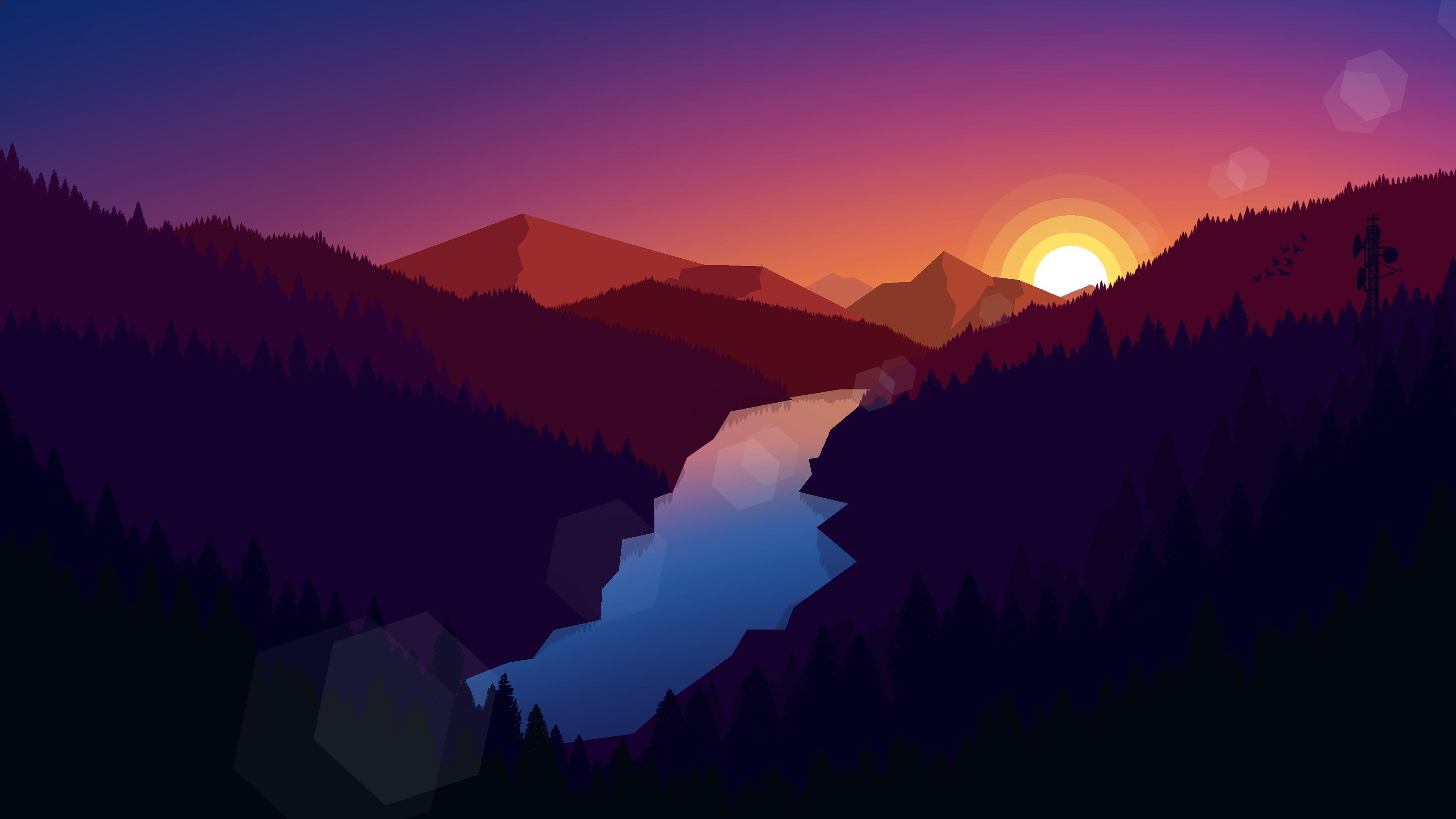 Illustration Landscape Mountains Nature Sunset River Digital Art In 2020 Desktop Wallpaper Art Minimalist Desktop Wallpaper Desktop Wallpaper