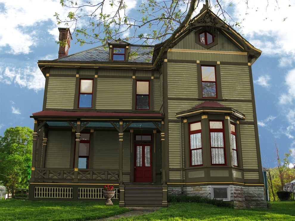 Exterior Paint Color Schemes Exterior Traditional with Drab Green ...