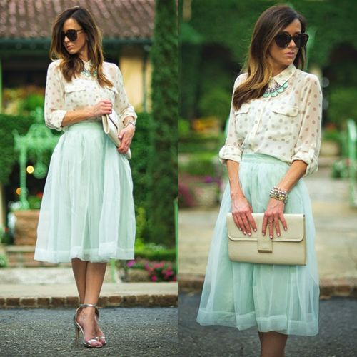 Mint Organza Midi Skirt - Retro, Indie and Unique Fashion | Mini ...