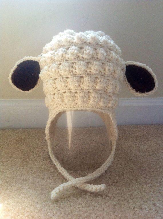 Little lamb Crochet Hat with Earflaps. Girl crochet hat. Boys crochet hat.  Baby 9d8f174b9af